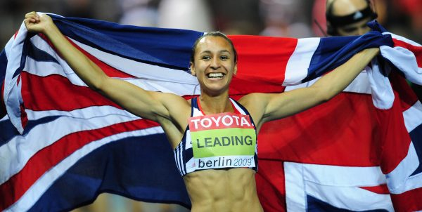 Great Britain's Jessica Ennis celebrates after winning the women's heptathlon of the 2009 IAAF Athletics World Championships on August 16, 2009 in Berlin.   AFP PHOTO / FRANCK FIFE (Photo credit should read FRANCK FIFE/AFP/Getty Images)